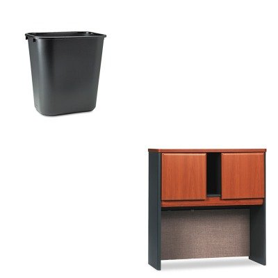 KITBSHWC57437RCP295600BK - Value Kit - Bush 36amp;quot; W Overhead Series A Natural Cherry (BSHWC57437) and Rubbermaid-Black Soft Molded Plastic Wastebasket, 28 1/8 Quart (RCP295600BK) by Bush
