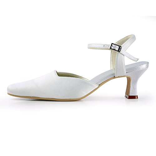 Shoes TMZ382 Toe Bridal Satin Women's Heel Square Pumps Formal 5cm Minitoo Ivory Evening Party Wedding tqPwgn