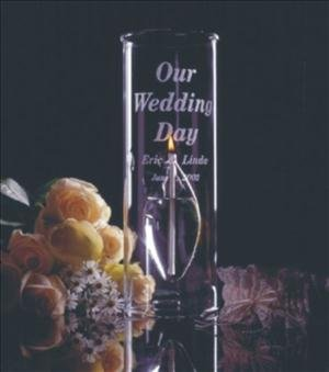 ANEDesigns Engraved Glass 12inch Aria Chimney Candle