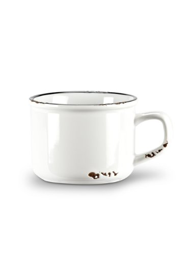 Enamel Look Stoneware Cappuccino Cup in White and Black
