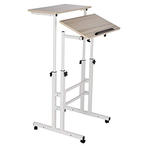 GD Marketing Mobile Stand Up Computer Desk, with Wheels, Height Adjustable, Two Tiers, Adaptable for Sitting or Standing (Up Stand Computer Cart)