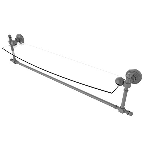 Allied Brass RW-33TB/24-GYM Retro Wave Collection 24 Inch Glass Vanity Shelf with Integrated Towel Bar Matte Gray