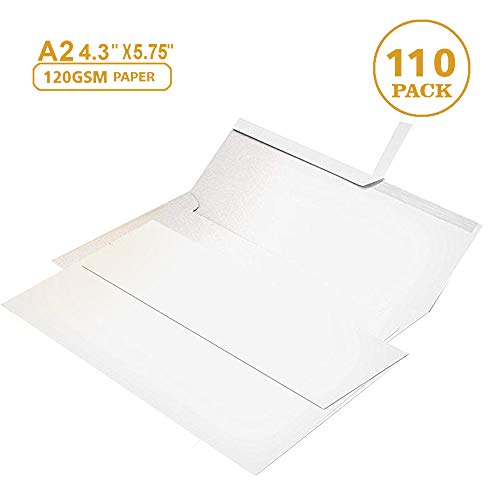 110 4 ⅜ x 5 ¾ White Invitation Envelopes - A2 - for Wedding Invites, RSVP, Greeting Cards, Photo Storage Mailing, Quarter Folded 8.5x11 Paper, 5.5 x 4 Inserts - W/Peel, Press & Self Seal (4 3 8 X 8 1 4 Envelopes)