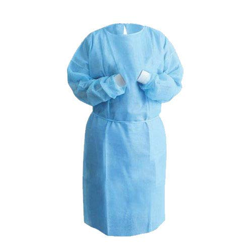 Isolation Gown Knitted Knit Cuff, Medical Dental, Latex Free, Fluid Resistant (Blue, 50 Gowns/5 Pack) by PlastCare USA