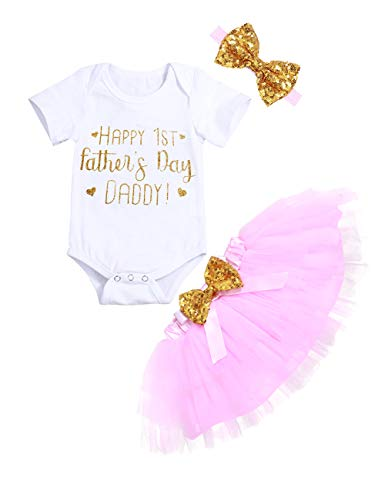 Happy 1st Fathers Day Baby Girl Outfit Letter Print Rompers+Tutu Dresses Shorts+Headband 3PCS Skirt Set (0-3 - Girl Happy Baby