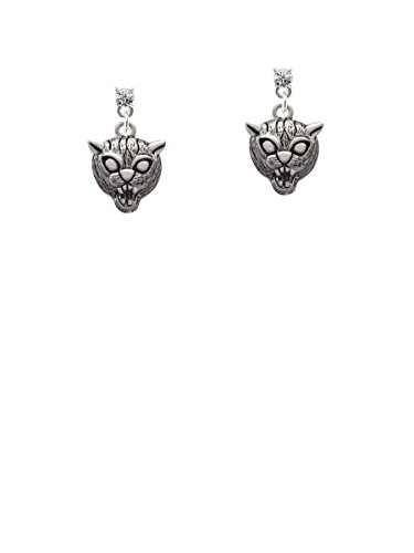 Small Wildcat - Mascot Clear Crystal Post Earrings