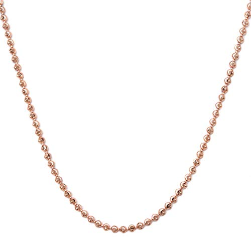 Blue Moon Sterling Silver Beads - 925 Sterling SIlver 3mm Moon Cut Bead Chain Necklace- Perfect for pendants or alone-Made in Italy (Rose, 28)