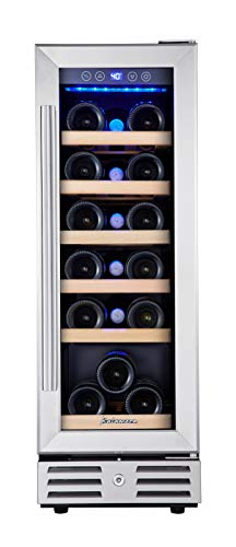 Kalamera 12 inch Wine Cooler Refrigerator 18 Bottle Built-in or Freestanding with Stainless Steel & Double-Layer Tempered Glass Door and Temperature Memory Function Mini Fridge