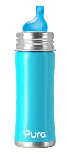 Pura Kiki - Biberón de acero inoxidable (325 ml) azul