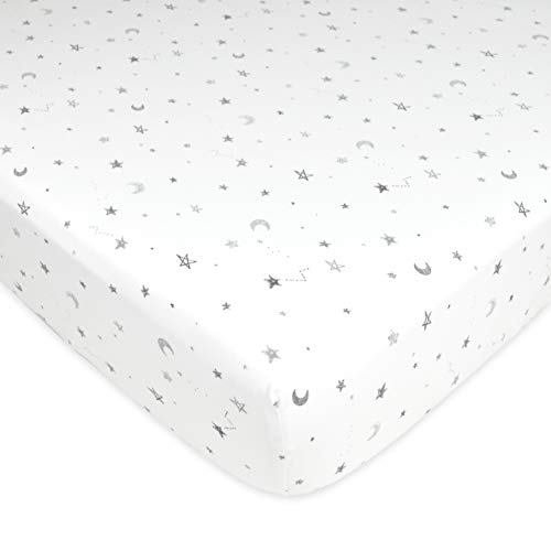 TL Care Fitted Pack N Play Playard Sheet 100% Natural Cotton Value Jersey Knit, Stars and Moon, Soft Breathable, for Boys and Girls
