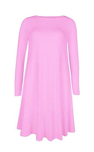 Femmes Uni Écossais Manches Longues Jersey Femme Extensible Évasé Court Robe Évasée 16 18 20 22 24 26 - Rose clair, XL/XXXL (EU 52-54)