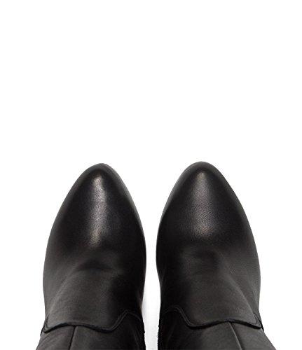 Poilei Vivian - Kære Sko / Elegante Højhælede Støvler Overlejring Af Ægte Læder - Skarpe-nedtrapning Og Høje Stilethæle - Sort IHlIKmVq9