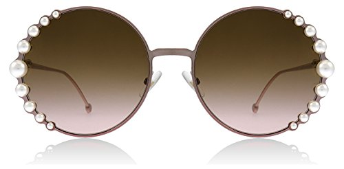Fendi Women's Round Pearl Frame Sunglasses, Pink/Brown Gradient, One ()
