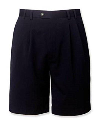 Cutter   Buck Gabardine Microfiber Pleated Shorts  Dark Navy  Waist 36