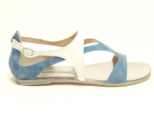 Manas - Sandalias de vestir para mujer Azul jeans bianco