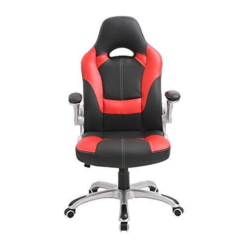 XISHE Ergonomic Adjustable Gaming Chair, High-Back PU Leather Swivel Executive Office Chair with Flip-up Arms (Red)