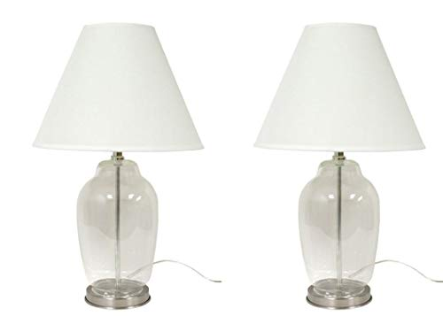 DEI 76413S2 Brushed Chrome and Clear Glass Fillable Craft Table Top Décor Lamp and Shade Set of 2 Lamps 14.5 Inches Brushed Chrome (Lamps To Fill With Shells)