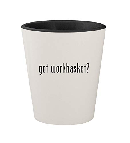 got workbasket? - Ceramic White Outer & Black Inner 1.5oz Shot Glass