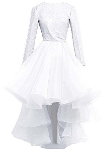 Alto Promenade Vestito Sera Sposa Di Bassa In Paillettes Bess Da Maniche Pizzo A Lunghe Bianca Femminili 8BwqnO
