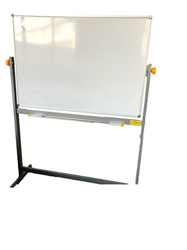 Rolling Whiteboard - Mobile Dry Erase Board With Stand - Double Sided Magnetic White Board on Wheels 48x34 w/ Large Tray for Markers - Free Standing Aluminum Frame and Best Flip Up Easel by Phobos Materials