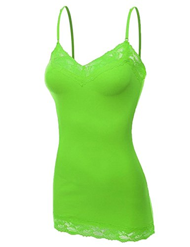's Lace Neck Camisole Top, Large, Neon Green ()