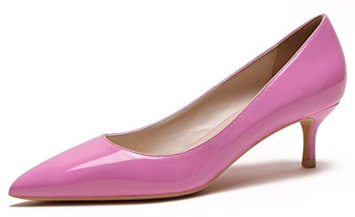(CAMSSOO Women's Low Heel D'Orsay Slip On Pointed Toe Dress Pumps Shoes Pink PU Size US7.5 EU39)