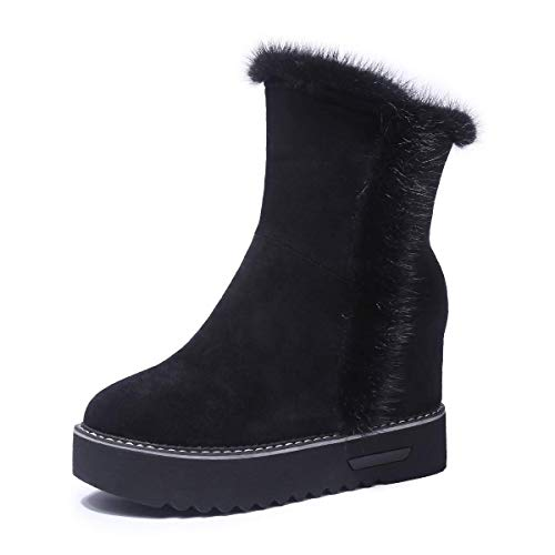 (Baronero Womens Faux Fur Ankle Boots for Women, Warm Hidden Wedge Platform Snow Boot Black #101 US7)