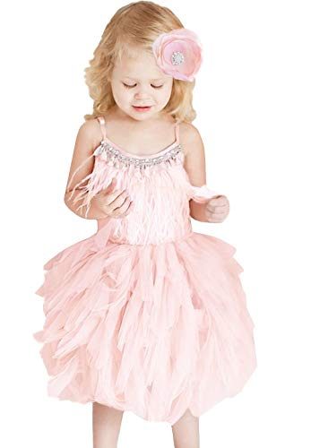 (2Bunnies Girl Embellished Bead Feather Strappy Tutu Tulle Flower Girl Dresses (Peach,)
