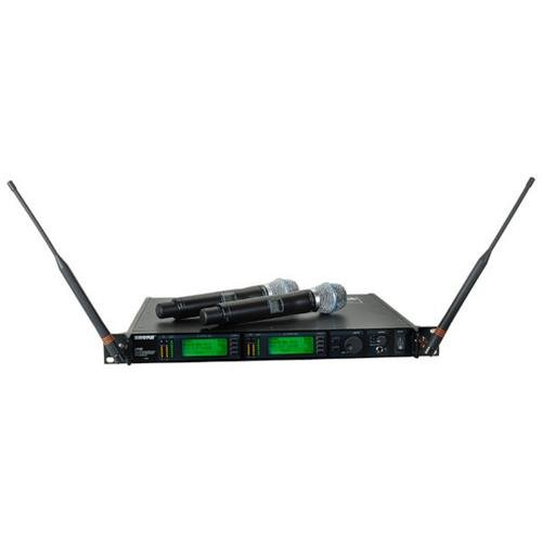 - Shure UR4D+ Dual Channel Wireless System with Two UR2/BETA87C Handheld Transmitters Band G1