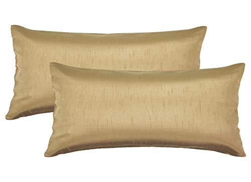 Aiking Home 12x24 Inches Faux Silk Rectangular Throw Pillow Cover, Zipper Closure, Brass (Set of 2)