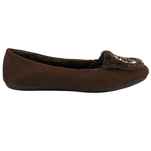 Amy Dames Mocassins Slip Op Indoor Outdoor Verfraaid Loafer Schoenen Pantoffels Bruin