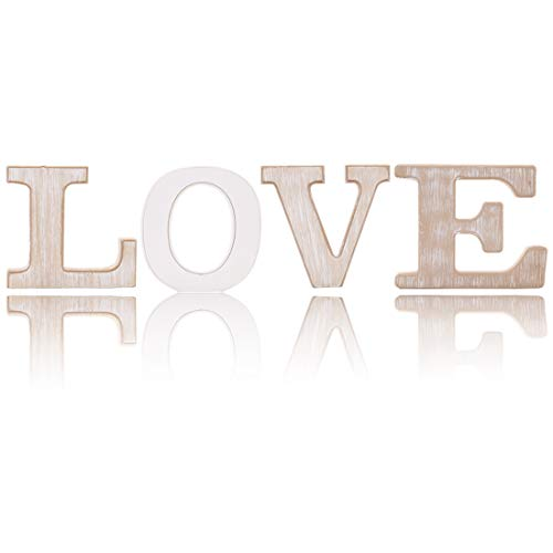 (UNIQOOO Rustic Wood Love Sign | Free Standing Wooden Block Cutout Letters Sweet Home Decorative Signs | Perfect for Livingroom, Kitchen, Mantel Decoration | Wedding, Housewarming Party Gifts)