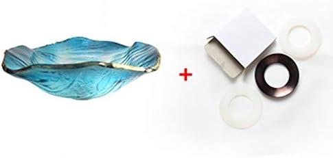 洗面ボール 強化ガラスブルー容器シンク洗面バスルームのシンク - オーバルLeafeシェイプ-Vesselシンクセット 洗面ボール・洗面器 (色 : 青, Size : A)