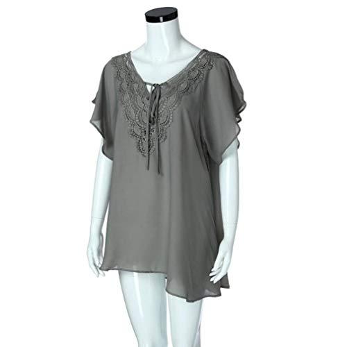 Mode Bandage Femme pissure Chemise Blusen Irrgulier Manches Confortable Casual Courtes Shirt Cou lgant Shirts breal Grau Dentelle V Et Mince Top w1w5vaqI