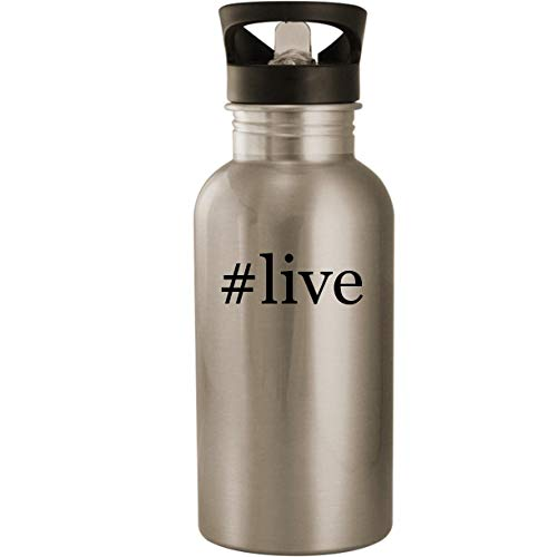 #live - Stainless Steel Hashtag 20oz Road Ready Water Bottle, Silver (Live Cricket World Cup 2015)