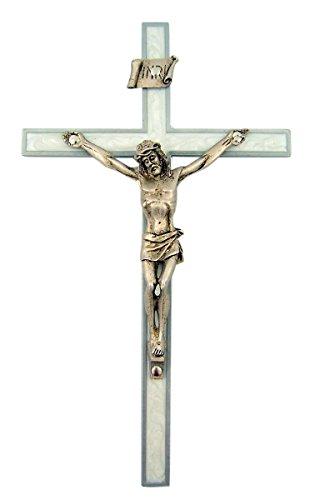 White Jesus Crucifix - White Pearlized Epoxy Wall Cross Crucifix with Pewter Jesus Christ Corpus, 6 Inch