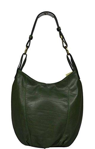 Schöne praktische Leder Grüne Handtasche aus Leder Lagia Verde Scura über die Schulter