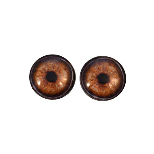 (Realistic Elephant Glass Eyes Brown Animal Iris Design Handmade Art Dolls Taxidermy Sculptures or Jewelry Making Cabochons Crafts Matching Set of 2 (8mm))
