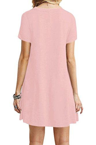 Plus Manches Shirt US Tops Casual Rose Courtes La OMZIN 4XL T Taille 18 Robe Lache XS Femmes 4 qgxwx5Xz