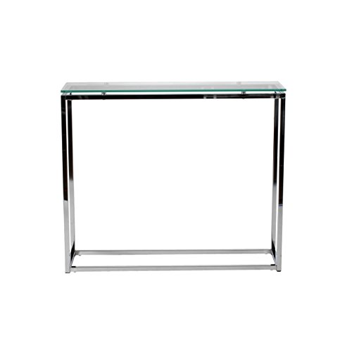 Euro Style Sandor Clear Glass Top Console Table, Chromed Steel Base (Glass Top Console Table)