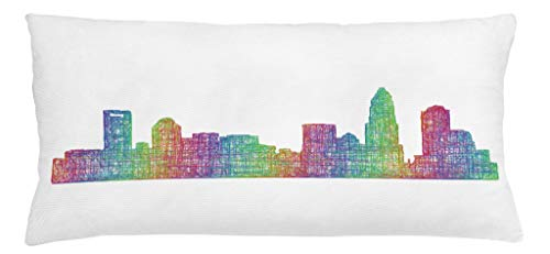 Lunarable North Carolina Throw Pillow Cushion Cover, Contemporary Style Charlotte City Scene in Colorful Buildings USA Panorama, Decorative Square Accent Pillow Case, 36 X 16 Inches, Multicolor