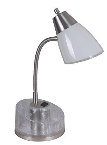 Catalina Lighting 18111-020 Shiloh 19.5'' Clear Brushed Steel Dual Shade Desk Lamp with Power Outlet, Organizer, White by Catalina Lighting (Image #5)