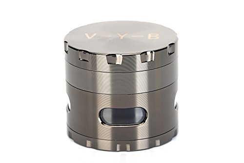Large Spice Tobacco Weed Herb Grinder - Four Piece with Pollen Catcher - 2.5 Inches - Premium Grade Aluminum(gray)