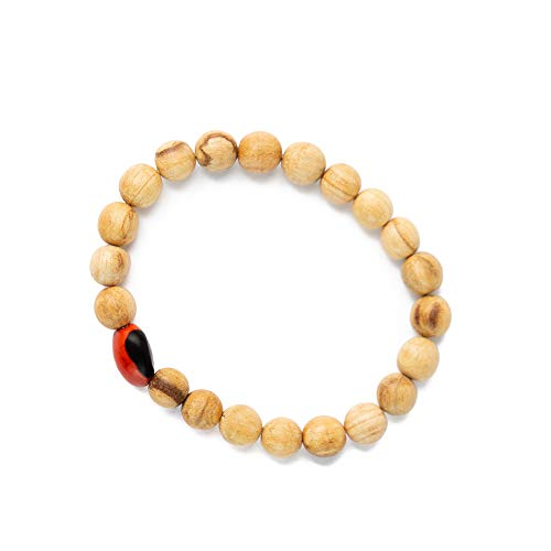 (Luna Sundara Palo Santo and Huayruro Charm Bracelet Handmade in Peru Highly Aromatic and Spiritually Cleansing)