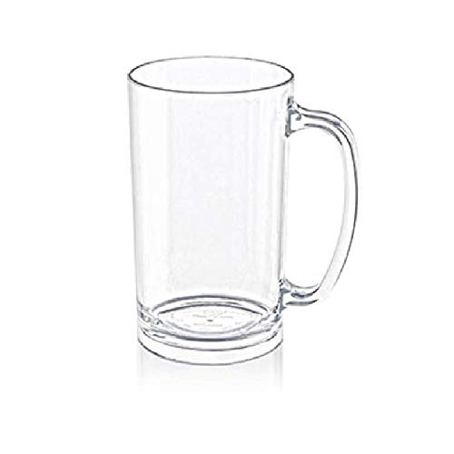 Acrylic Shatterproof Plastic Classic Beer Mugs with Handles. Perfect for Outdoor Drinking and Root Beer.Comes with 2 Clear Mugs -