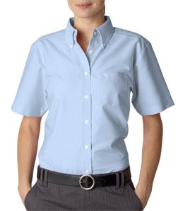 lassic Wrinkle-Free Short Sleeve Oxford Shirt, M, Light Blue (Classic Cotton Oxford Shirt)
