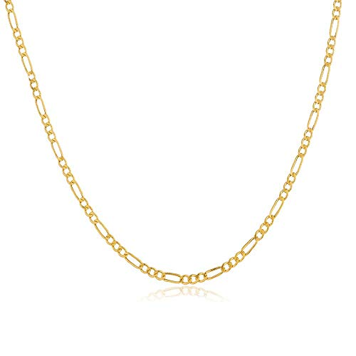 Verona Jewelers 14K Gold Unisex 2MM Figaro Link Chain Necklace- 16