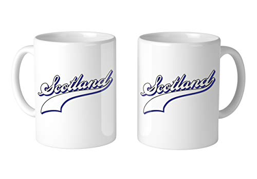 - Amdesco Scotland Baseball Font 11 Oz White Coffee Mug (2 Mugs)