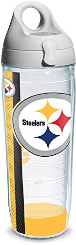 - Tervis NFL Pittsburgh Steelers Wrap Individual Water Bottle with Gray Lid, 24 oz, Clear