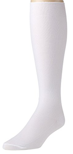 Sportoli Men's Nylon Classic Soft and Lightweight Ribbed Knit Knee High Socks - White - White Tall Socks Striped
